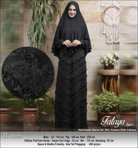 Supplier Baju Gamis Pesta Polos Anggun Fataya Syar'i Warna Hitam Bahan Ceruti