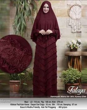 Supplier Baju Gamis Pesta Polos Anggun Fataya Syar'i Warna Maron Bahan Ceruti