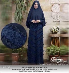 Supplier Baju Gamis Pesta Polos Anggun Fataya Syar'i Warna Navy Bahan Ceruti