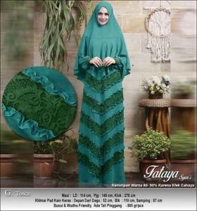 Supplier Baju Gamis Pesta Polos Anggun Fataya Syar'i Warna Tosca Bahan Ceruti