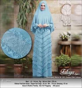 Supplier Baju Gamis Pesta Polos Fataya Syar'i Anggun Warna Biru Bahan Ceruti