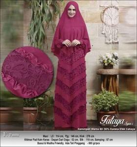 Supplier Baju Gamis Pesta Polos Fataya Syar'i Anggun Warna Fanta Bahan Ceruti