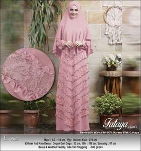 Supplier Baju Gamis Pesta Polos Fataya Syar'i Anggun Warna Pink Bahan Ceruti