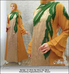 Supplier Baju Gamis Pesta Syar'i Almora Dress Warna Gold bahan Jacquard