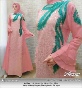 Supplier Baju Gamis Pesta Syar'i Almora Dress Warna Pink Salem bahan Jacquard