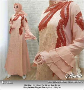 Supplier Baju Gamis Pesta Syar'i Almora Dress Warna Salem bahan Jacquard
