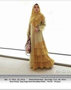 Supplier Gamis Pesta Kombinasi Warna Hasna Syar'i Warna Gold Bahan Wollycrepe