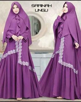 Baju Gamis Wanita Sarinah Syar'i warna Ungu Bahan Wafle Premium
