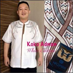 Baju Koko Pria Terbaru white exition Koko Adnan Bahan semi sutra