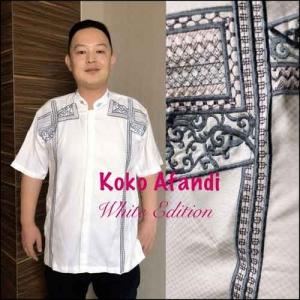 Baju Koko Pria Terbaru white exition Koko Afandi Bahan semi sutra