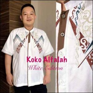 Baju Koko Pria Terbaru white exition Koko Al Falah Bahan semi sutra