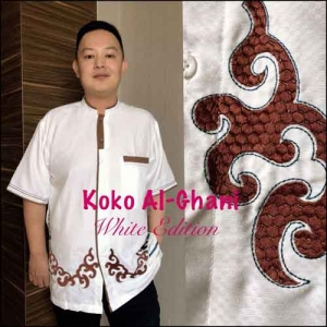 Baju Koko Pria Terbaru white exition Koko Al Ghani Bahan semi sutra