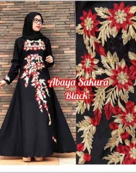 Baju Muslim Masa Kini Abaya Sakura Warna Black Bahan Crepe Blackjack