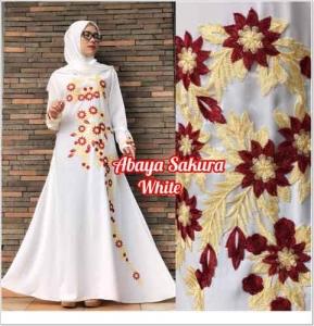 Baju Muslim Masa Kini Abaya Sakura Warna White Bahan Crepe Blackjack