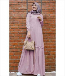 Jual Baju Gamis Katun Zahwa Dress warna Dusty Pink Bahan Toyobo