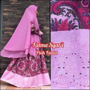 Jual Online Baju Gamis Terbaru Fatma Syar'i warna Pink Fanta Bahan Crepe Silk