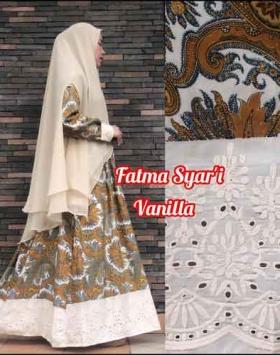 Jual Online Baju Gamis Terbaru Fatma Syar'i warna Vanilla Bahan Crepe Silk