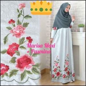 Supplier Baju Gamis Pesta Syar'i Tanah Abang Marisa Dress 2 Bahan Woolpeach