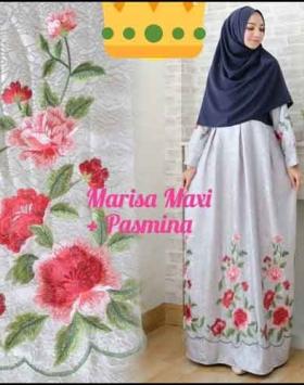 Supplier Baju Gamis Pesta Syar'i Tanah Abang Marisa Dress 4 Bahan Woolpeach