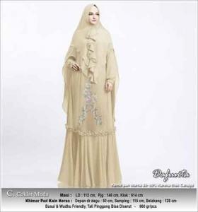 Baju Gamis Cantik Dafunta Syar'i Warna Coklat Muda Bahan Ceruti