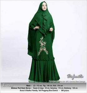 Baju Gamis Cantik Dafunta Syar'i Warna Hijau Bahan Ceruti