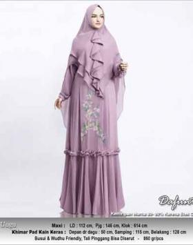 Baju Gamis Cantik Dafunta Syar'i Warna Ungu Bahan Ceruti