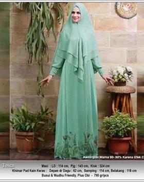 Baju Gamis Terbaru Untuk Pesta Ilalang Syar'i Warna Tosca Bahan Ceruti
