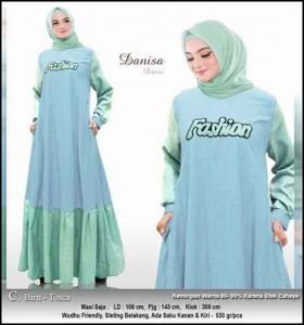 Baju Hijabers Polos Danisa Dress Warna Biru Tosca Bahan Oxford