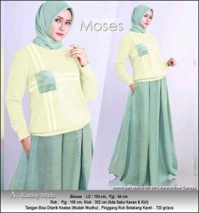 Baju Muslim Casual Moses Set warna Kuning Muda dengan Bahan Kaos Katun Combed