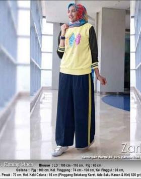 Baju Muslim Casual Zarlin Set Warna Kuning Muda Bahan Kaos Combed