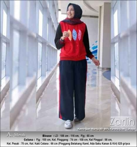 Baju Muslim Casual Zarlin Set Warna Merah Bahan Kaos Combed
