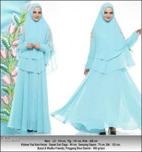 Baju Pesta Muslimah Oriza Syar'i Warna Biru Bahan Ceruti