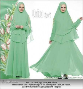 Baju Pesta Muslimah Oriza Syar'i Warna Hijau Tosca Bahan Ceruti