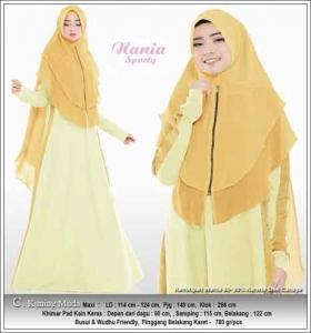 Busana Muslim Casual Nania Sporty Warna Kuning Kunyit Dengan Bahan Kaos Combed