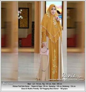 Gamis Polos Kombinasi Bordir Runia Syar'i warna Gold Bahan Ceruti