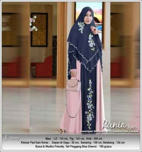Gamis Polos Kombinasi Bordir Runia Syar'i warna Navi Bahan Ceruti