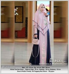Gamis Polos Kombinasi Bordir Runia Syar'i warna Pink Muda Bahan Ceruti