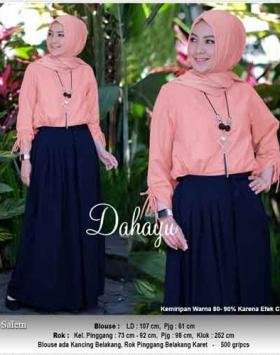 Jual Online Busana Muslim Modern Dahayu set Warna Salem Bahan Woollpeach