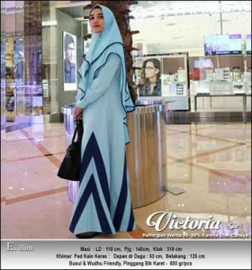 Jual Online Gamis Polos Victoria Syar'i Warna Biru Bahan Moscrepe
