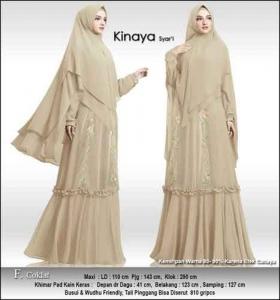 Baju Gamis Cantik Kinaya Syar'i Untuk Pesta Warna Coklat Bahan Ceruti Premium