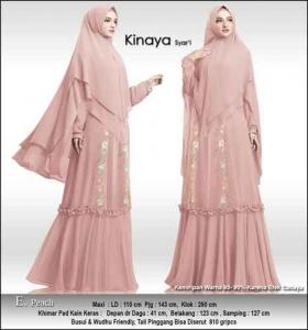 Baju Gamis Cantik Kinaya Syar'i Untuk Pesta Warna Peach Bahan Ceruti Premium