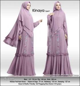 Baju Gamis Cantik Kinaya Syar'i Untuk Pesta Warna Ungu Bahan Ceruti Premium
