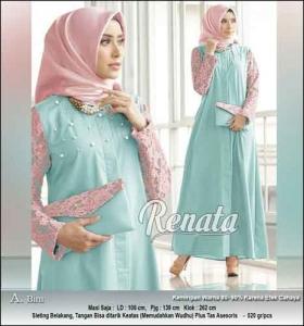 Baju Gamis Renata Dress Warna Biru Bahan Toyobo Kombinasi Brukat