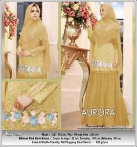 Baju Gamis Terbaru Aurora Syar'i Warna Gold Bahan Ceruti
