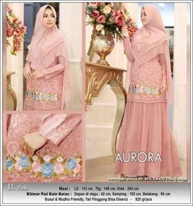Baju Gamis Terbaru Aurora Syar'i Warna Pink Bahan Ceruti