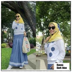 Baju Hijabers Modern Ranna Setelan Rok Warna Dark Blue Bahan Kaos Combed dan Soft Jeans