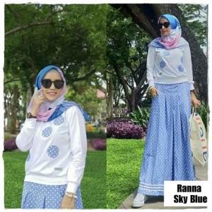 Baju Hijabers Modern Ranna Setelan Rok Warna Sky Blue Bahan Kaos Combed Dan Soft Jeans