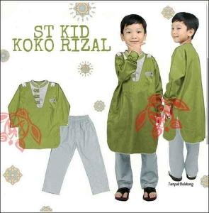 Baju Muslim Anak Rizal Koko Kids Warna Hijau Bahan Katun Halus