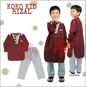 Baju Muslim Anak Rizal Koko Kids Warna Maron Bahan Katun Halus