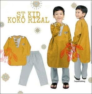 Baju Muslim Anak Rizal Koko Kids Warna Mustard Bahan Katun Halus